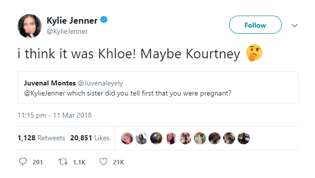 kylie jenner tweet khloe kourtney