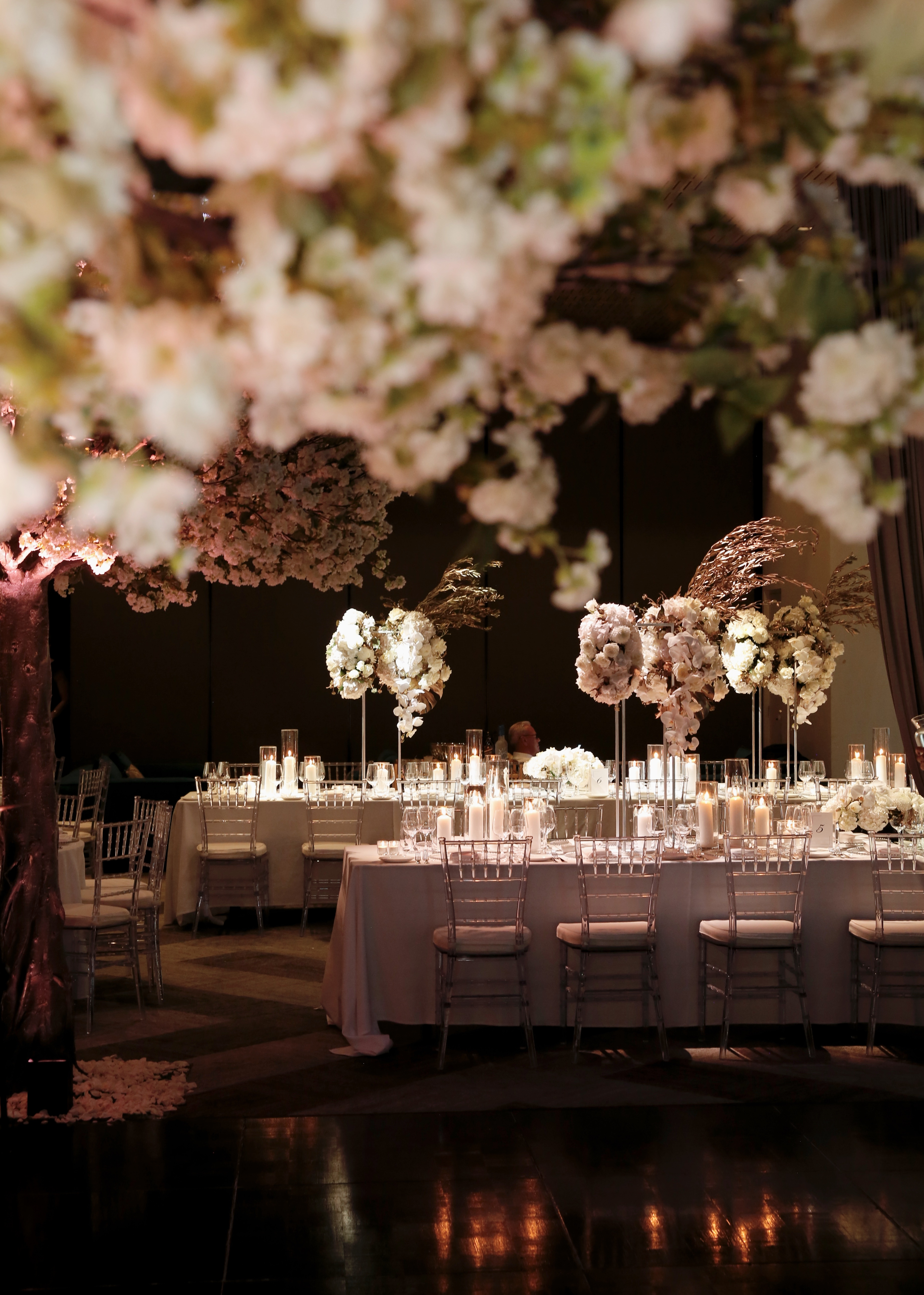 A winter wonderland wedding with two huge cherry blossom trees they knew that they wanted an intimate affair with a winter wonderland theme even planning the entire wedding on their own junglespirit Image collections
